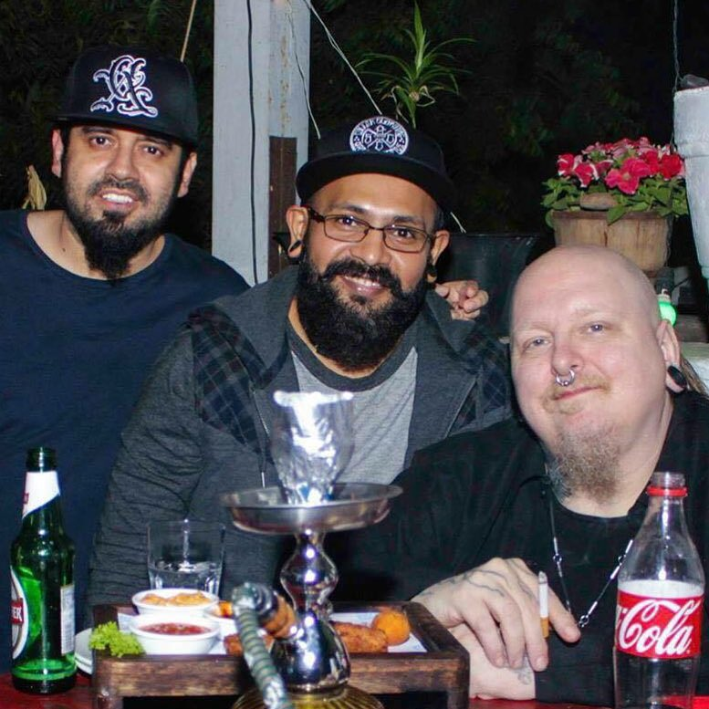 Sameer (centre) with Lokesh Verma (left) and Paul Booth (right) during Heartwork Tattoo Festival 2015. Image credit: Paul Booth