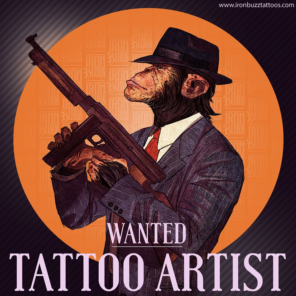 Iron Buzz Tattoos is looking for a full time tattoo artist. Tag THAT friend now!