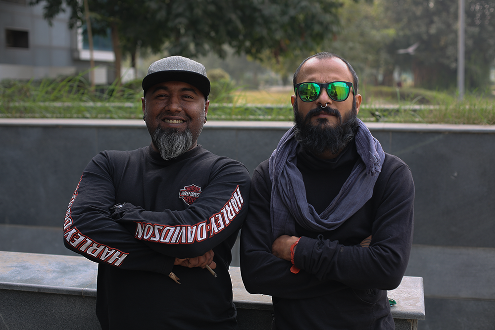 Two of India's 1st generation tattoo artists, Sabby Pardeshi (left) and Kevin Andrade. Image © Shubham Nag