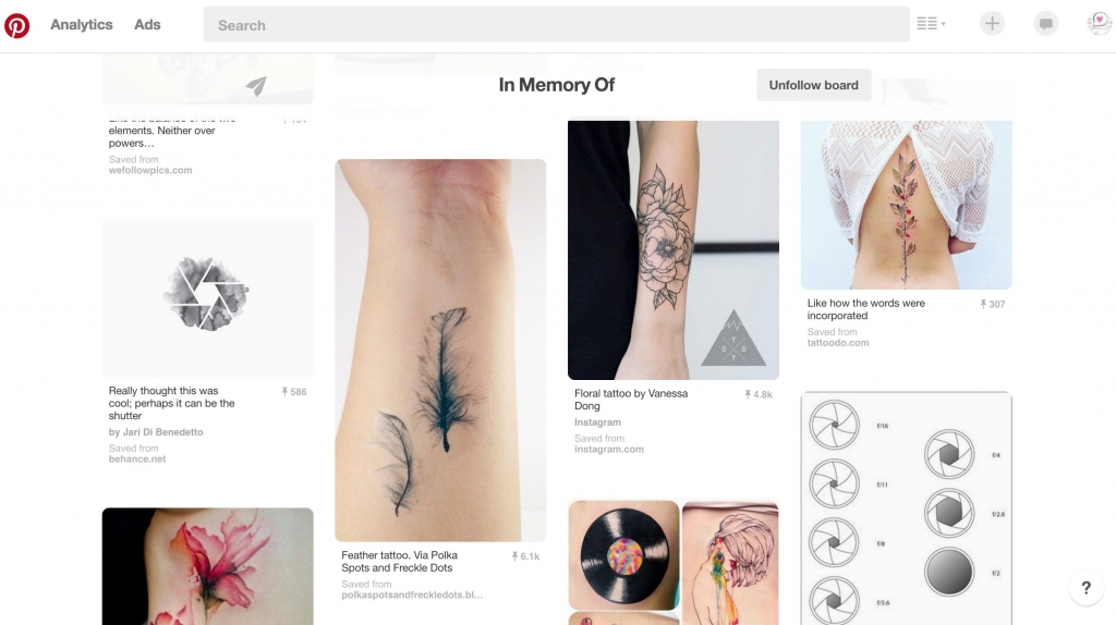 Pintrest tattoo board